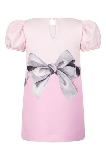Baby Girls Pink Crepe Alice & Rabbit Dress