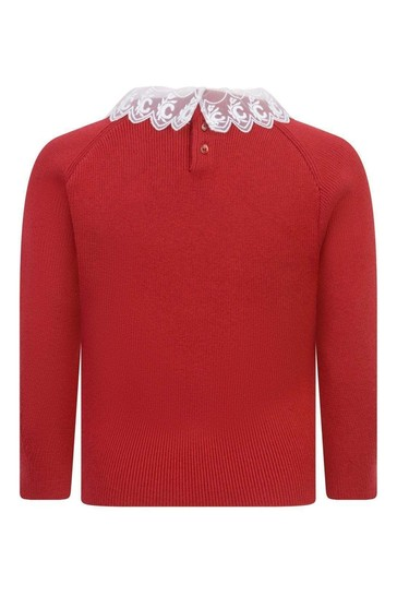 Girls Red Cotton & Wool Knitted Sweater