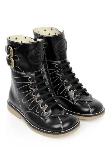 Girls Black Leather Lace-Up Boots