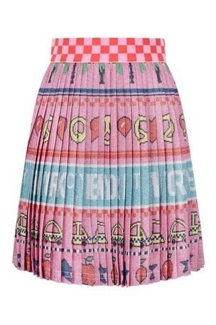 Girls Pink Pleated New York City Skirt