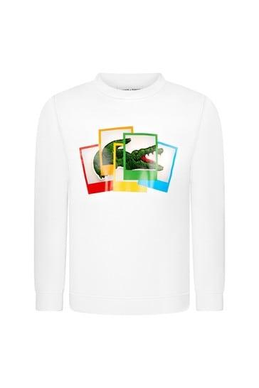 보이즈 화이트 코튼 스웨터