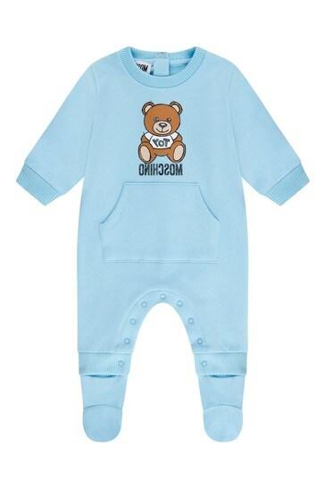 Blue Cotton Fleece Babygrow