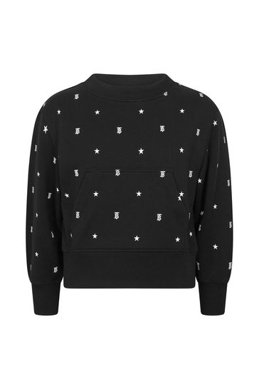 걸스 블랙 코튼 스웨터
