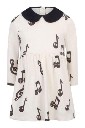 걸스 아이보리 오가닉 코튼 노트 드레스