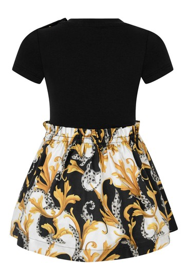 Baby Girls Black & Gold Cotton Dress