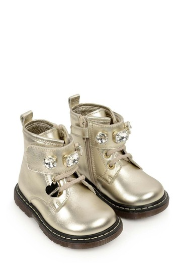 Girls Gold Leather Gem Boots