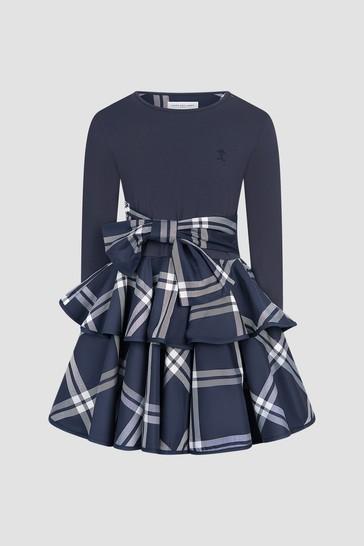 Girls Navy Circle Frill Dress