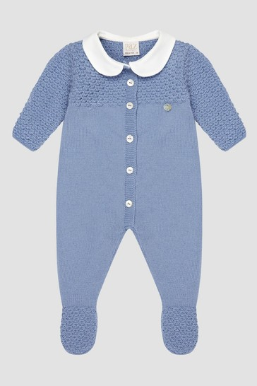 Baby Boys Blue Knitted Rompersuit