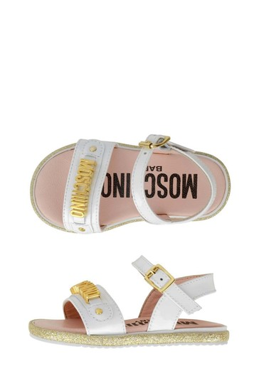 Girls Leather Logo Sandals
