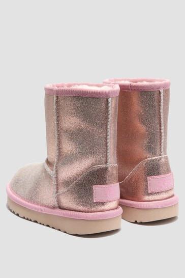Girls Pink Classic Metal Glitter Boots