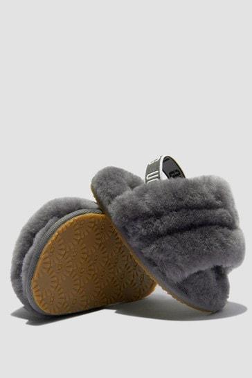Baby Girls Grey Fluff Yeah Slippers