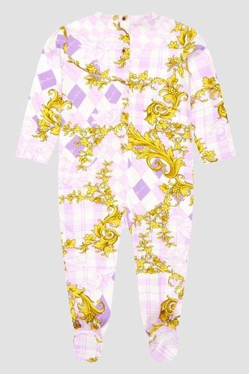 Baby Girls White Sleepsuit