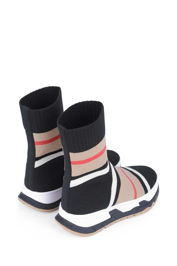 & Black Striped Sock Trainers