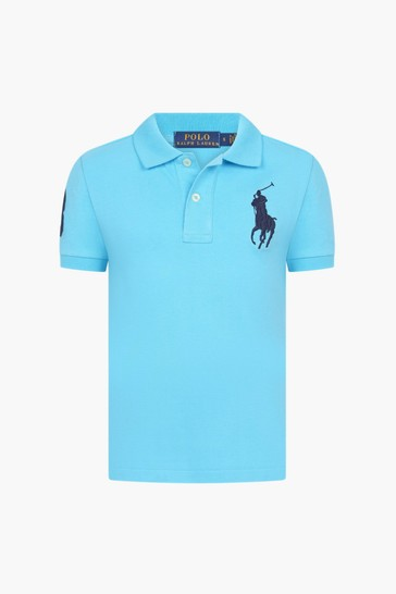 Boys Blue Cotton Big Pony Polo Top