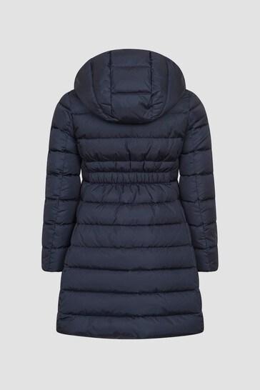 Girls Navy Charpal Long Coat