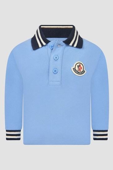 Baby Boys Blue Long Sleeve Polo Shirt