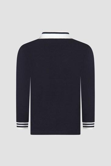 Baby Boys Navy Long Sleeve Polo Shirt