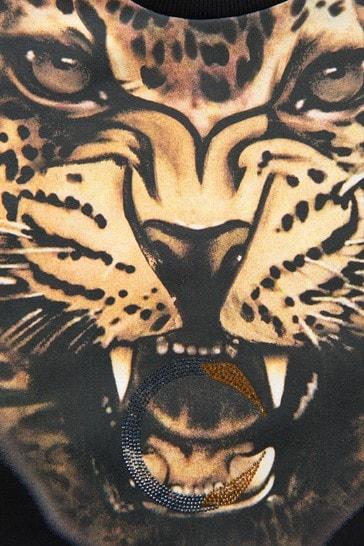 Girls Leopard Print Sweat Top