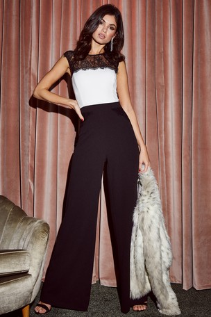 b5ff7576ad Buy Lipsy Lace Trim Jumpsuit from the Next UK online shop