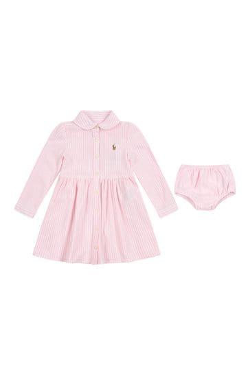 Baby Girls Pink Striped Cotton Oxford Dress