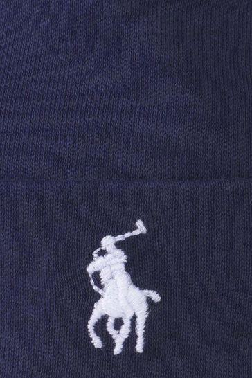Baby Boys Navy Cotton Beanie Hat