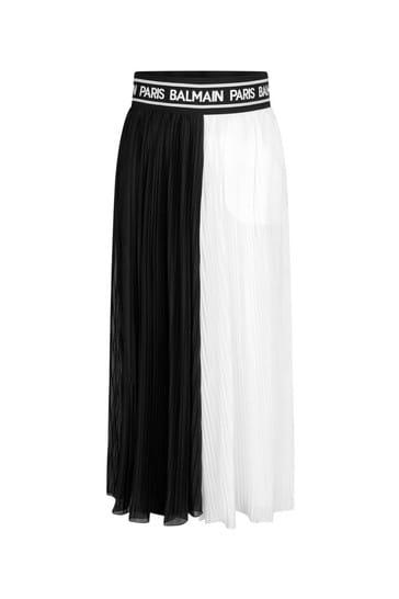 Girls Black & White Viscose Pleated Trousers