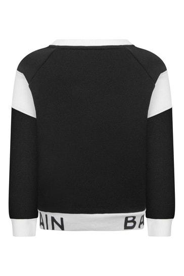 Boys Black & White Cotton Logo Sweater