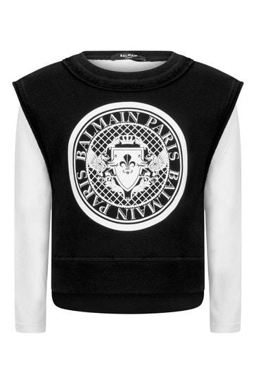 Boys Black & White Cotton Sweater
