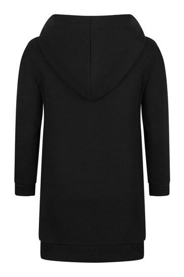 걸스 블랙 코튼 후드 스웨터 드레스