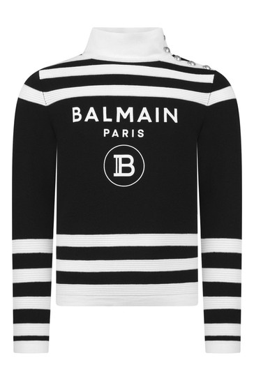 Girls Black & White Striped Wool Sweater