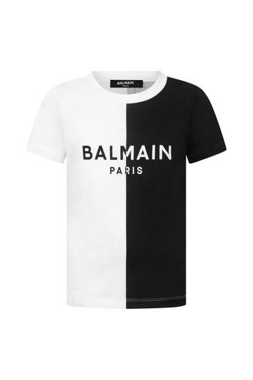 Girls White & Black Cotton Logo T-Shirt
