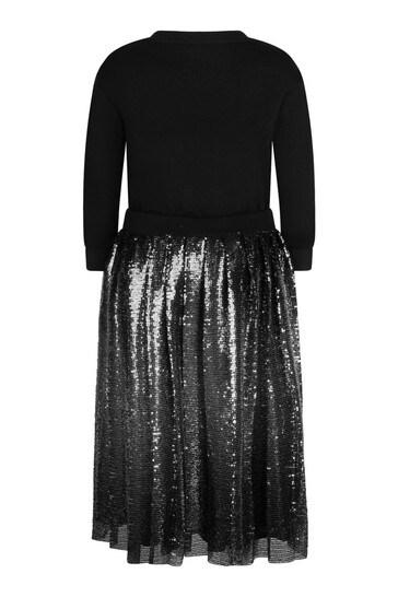 걸스 블랙 코튼 스팽글 드레스