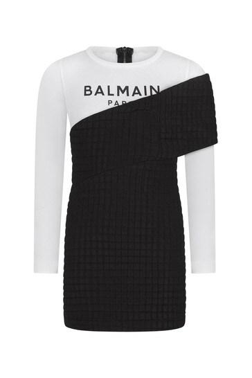 여자 블랙 & 화이트 레이어드 드레스