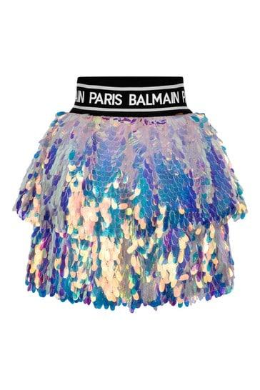 Girls Pink Sequin Skirt