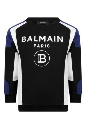 보이즈 블랙 코튼 로고 프린트 스웨터