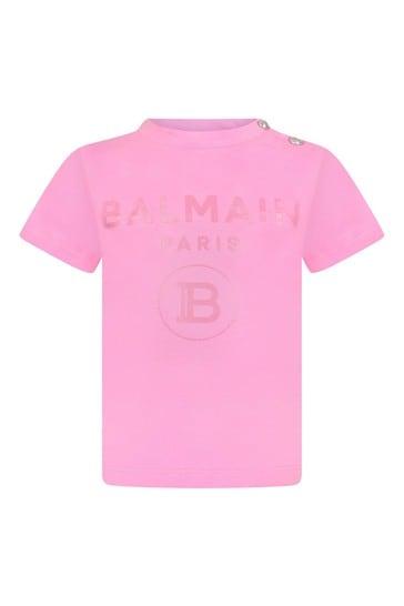 베이비 걸스 핑크 코튼 로고 프린트 티셔츠