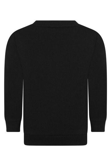 Boys Black Cotton Logo Sweatshirt