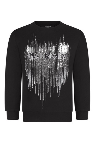 Girls Black & Silver Sequin Cotton Sweater
