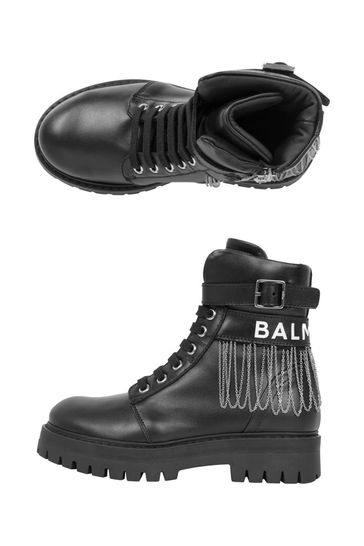 Kids Black Leather Chain Boots