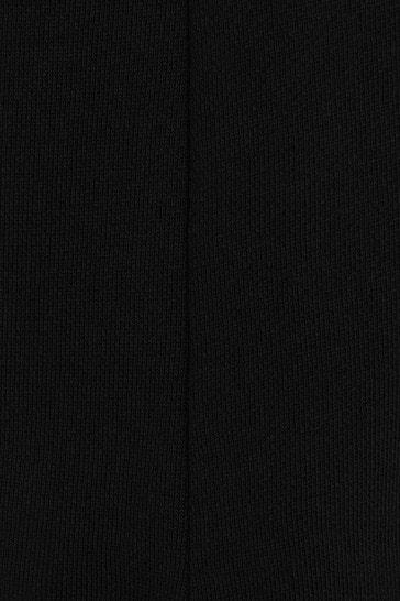 Girls Black Cotton Logo Dress