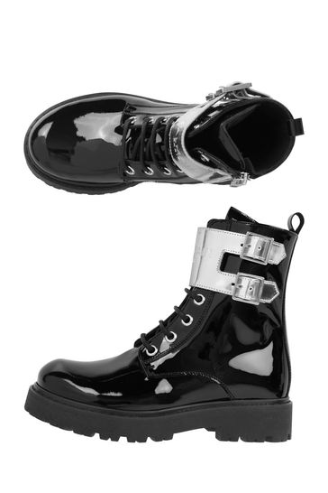 Kids Black Leather Boots