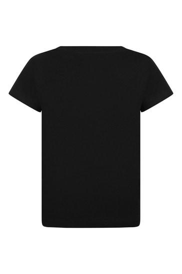 Girls Black Cotton Embellished Logo T-Shirt