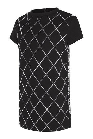 Girls Black Diamanté Dress