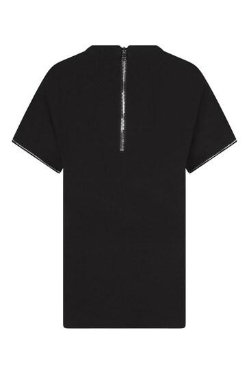 Girls Black Viscose Logo Dress