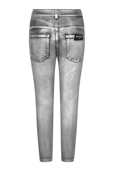 Girls Grey Cotton Denim Jeans