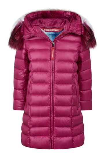 Girls Fuchsia Down Padded Coat With Faux Fur Trim Hood