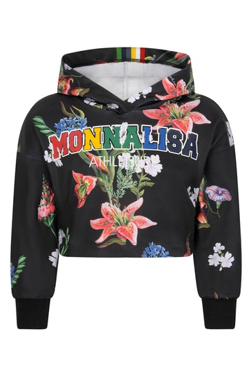 Girls Black Floral Cropped Hooded Sweater