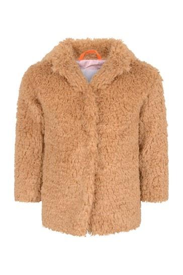 Girls Autumn Leaf Faux Fur Coat