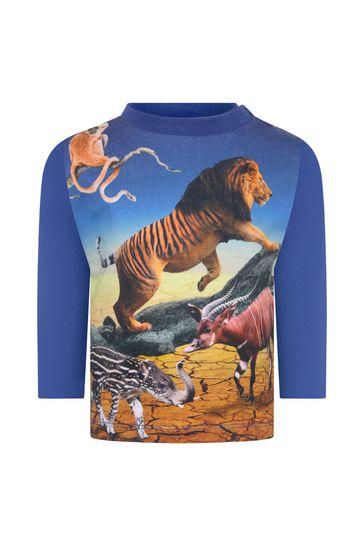 Baby Boys Blue Organic Cotton Long Sleeve T-Shirt