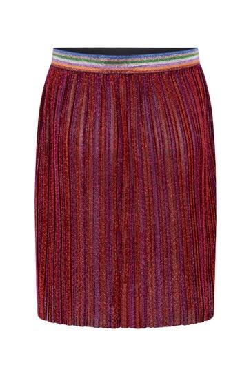 Girls Red Glittery Pleated Skirt